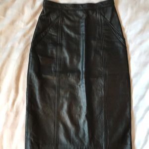 OceanWest Canadian  black leather pencil skirt.